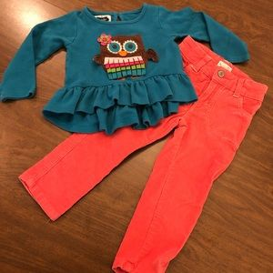 2T Bundle Pink Corduroy Pants Turquoise Owl Shirt